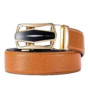 fashion buckle for men orange leather luxury christmas gift extra long wedding business belt