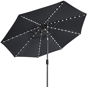 Eliteshade Sunbrella Solar Umbrellas 9ft Market Umbrella With 80 Led Lights Patio Umbrellas Outdoor Table Umbrella With Ventilation And 5 Years Non Fading Top Black Garden Outdoor