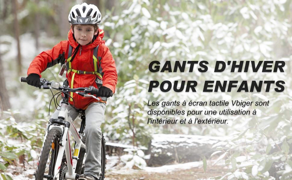 VBIGER Enfants Gants Hiver Chauds Tactile Sport V/élo /épaissie Gants Antid/érapant Enfants entre 6-12