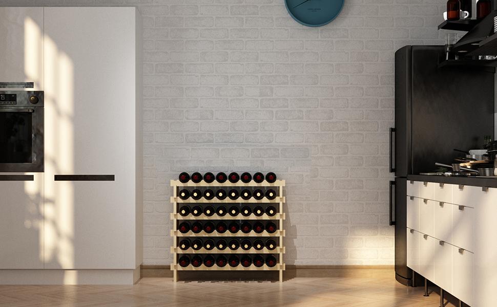 soges Weinregal Weinlagerung Weinst/änder Flaschenst/änder aus unbehandeltem Holz mit 6 Etagen f/ür 48 Flaschen,Gr/ö/ße 90 81CM 30