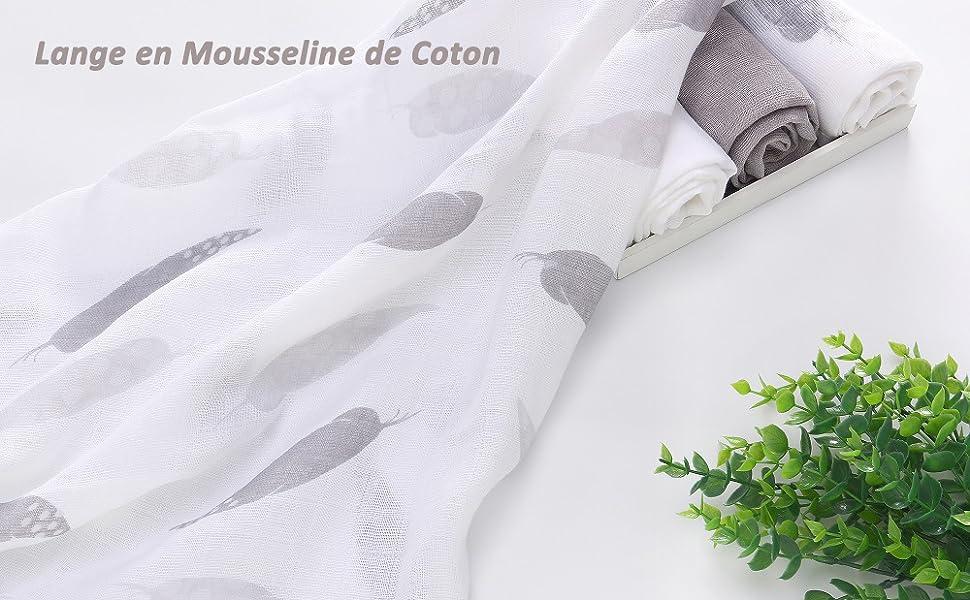 70cm Lot de 4 Serviette Carr/é de B/éb/é Lange en Mousseline de Coton Ultra Doux pour Peau Sensible de Nouveau-n/é Naissance 70
