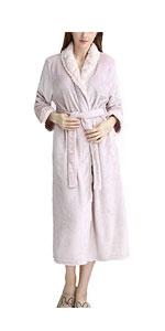 Womens Long Plush Bath Robe