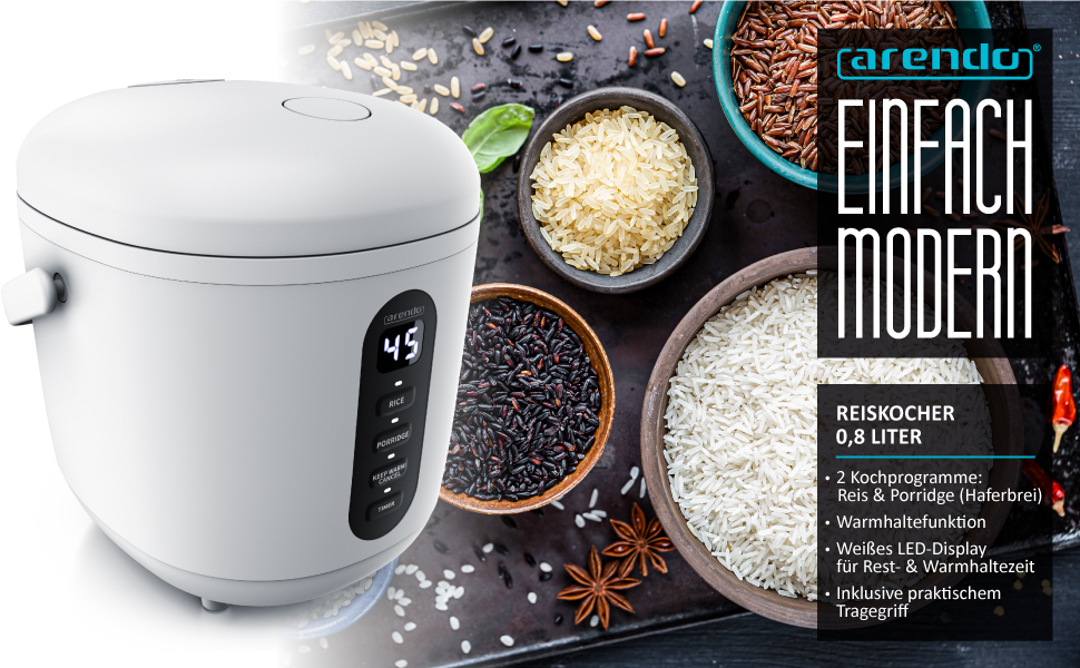 Rijstkoker klein 0,8 l - 300 watt - met maatbeker en rijstlepel - 2 kookprogramma's - timer