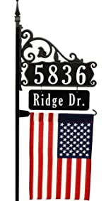 Boardwalk 58 inch Reflective Address Sign with Name Rider and American Flag 911 address number sign