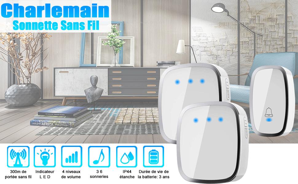 le bureau le jardin Acgam Sonnette de porte sans fil 45 m/élodies 1 /émetteur et 2 r/écepteurs avec port/ée Affichage LED pour la maison