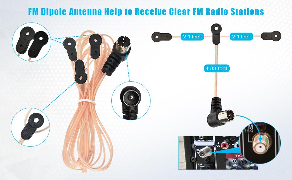 Antena FM Dab Interior Sintonizador de Radio con Cable de 3 m 75 Ohm de Largo con Base Magn/ética Receptor de Cine para Hogar con Bluetooth AV Antena de Radio FM para Digital Inal/ámbrica