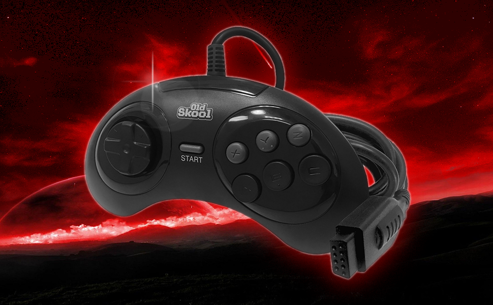 Old Skool Sega Genesis Controller Replacement Video Game Gamer Remote Wired Videogames System games