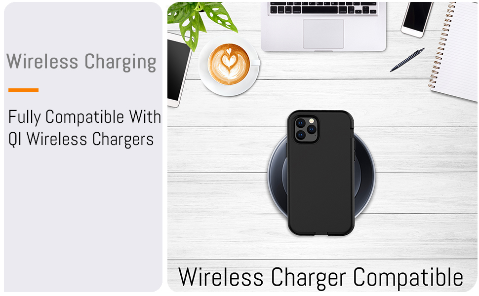 """iPhone 11 Pro Max 6.5"""" Heavy Duty Case Cover Compatible with Fast Charge QI Wireless Charger"""