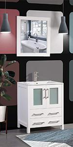 modern single sink bathroom vanity storage cabinet ceramic rectangle sink cabinet