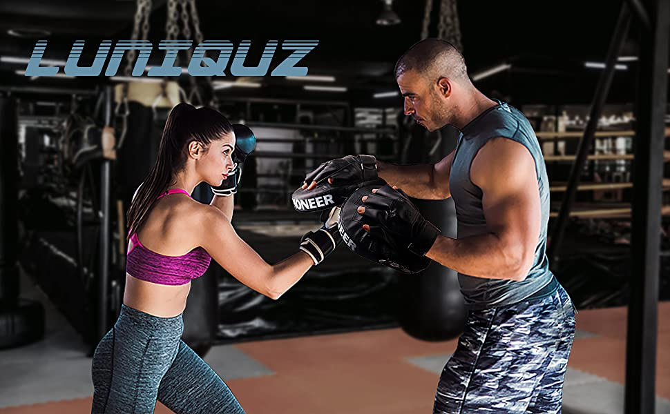 Luniquz Boxing Gloves and Punching Mitts for MMA Muay Thai 4OZ