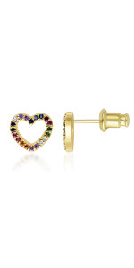 rainbow heart stud earrings for girls women gift colorful real gold 18k small second hole cute tiny