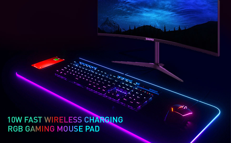 Wireless charging game rgb mouse pad