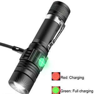 linterna t/áctica con cargador USB con bater/ía recargable de 18650 Xisunred Linterna LED de alta potencia