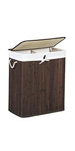 Pieghevole bamb/ù 65,5 x 43,5 x 33,5 cm Relaxdays Cesto Porta-Biancheria Pesca 83 L Rettangolare