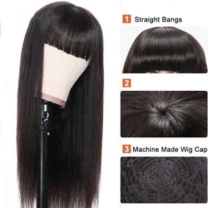 straight human hair with bangs