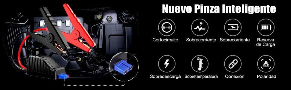 Audew Arrancador de Coches 10800mAh 1000A 12V para Gasolina de 8.0L o Diésel de 5.0L Arrancador de Baterías para Coches con Puerto USB-C 12V e ...