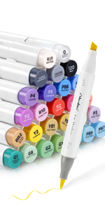24 Basic Colors Alcohol Brush Markers