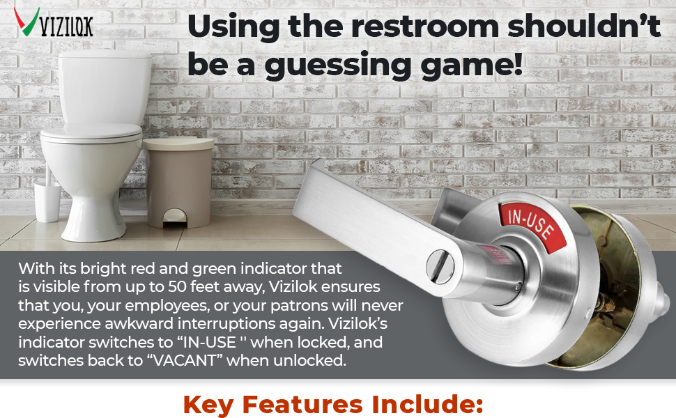 Interior Door Handles Perfect for All Public restrooms Including Restaurants Large in-Use Vacant Indicator Hospitals VIZILOK Privacy Indicator Lock and Lever C3FK Commercial Grade Satin Chrome.