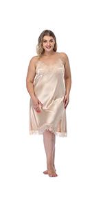 Satin Nightgown Sexy Spaghetti Strap Lingerie Sleepwear Mini full Slips Short Nightwear lace Chemise