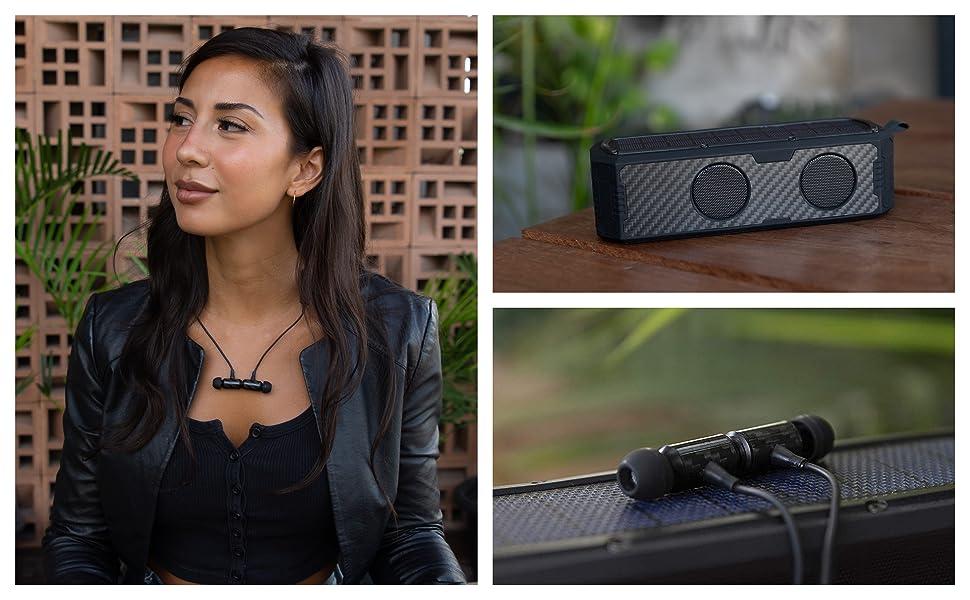 Black carbon fiber solar powered bluetooth speaker earbuds earphones headphones audio