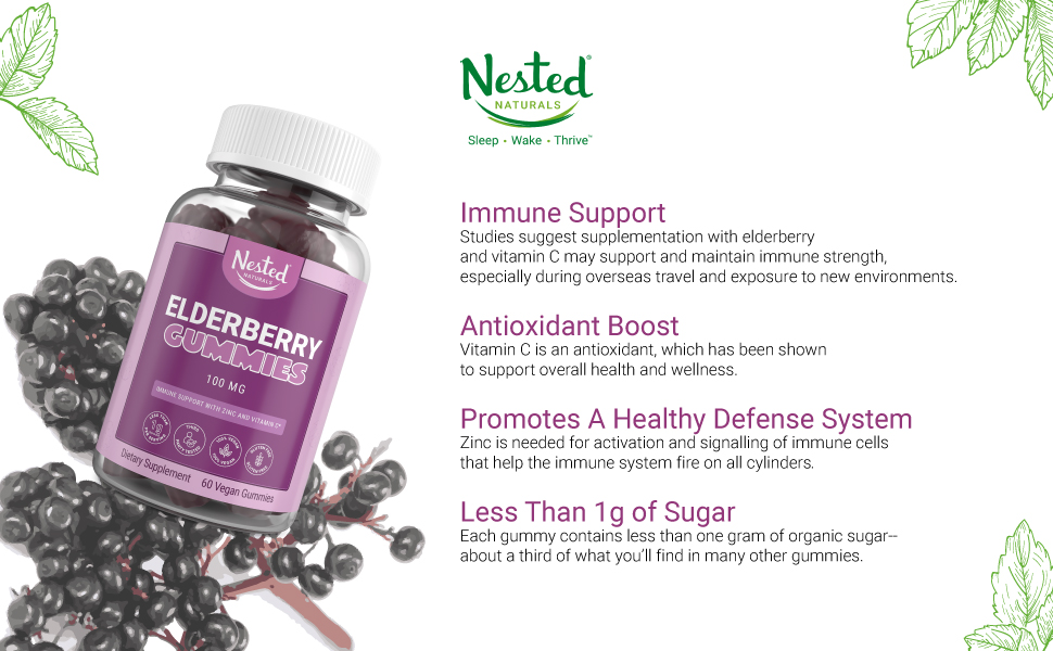 natural vegan elderberry zinc vitamin c gummies supplement immunity antioxidant support booster