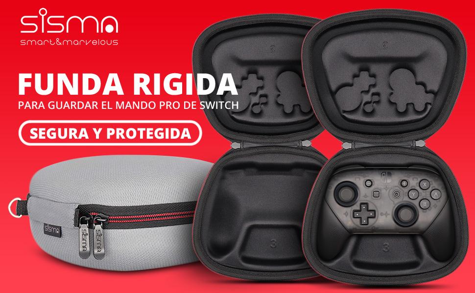 Sisma Funda rigida para Mando Pro de Nintendo Switch - Estuche de transporte para guardar y proteger Gamepad original de Nintendo Switch, Color Gris: Amazon.es: Videojuegos