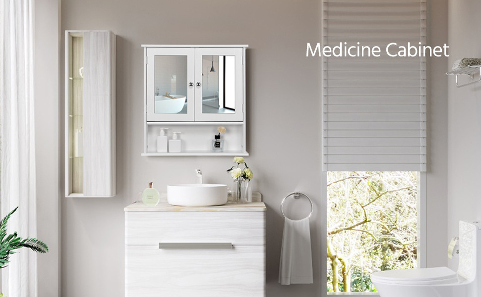 White Bathroom Wall Cabinet with Single Mirror Door Organizer Storage Home US