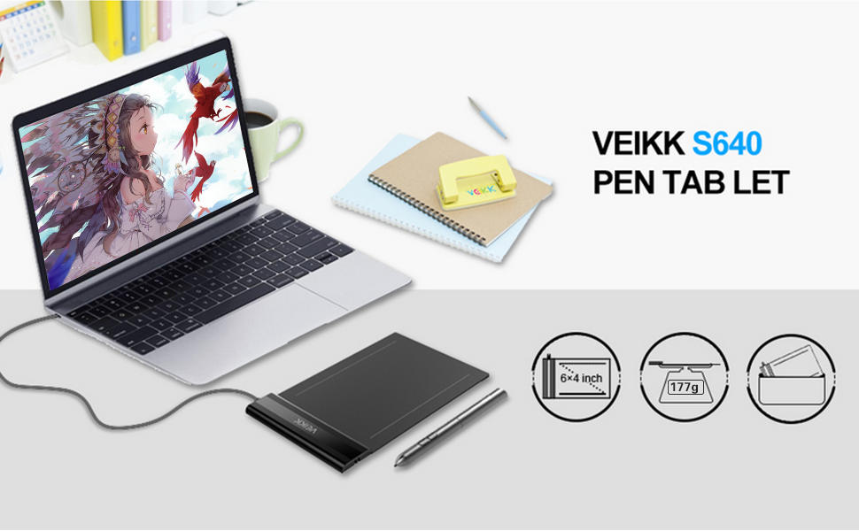 Sketching and Photo Retouching Stronghigheu 6 x 4 Graphic Pen Tablet VEIKK S640 Ultra-thin Drawing Tablet with 8192 Levels Passive Pen Portable for Painting