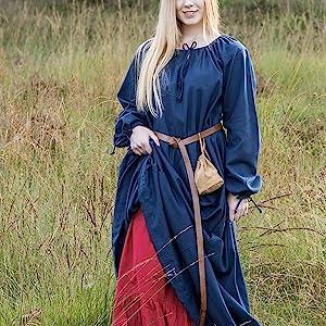 lang frauen maxi piraten vintge piratin bäuerin faschingskostüm medieval dress waldelfe