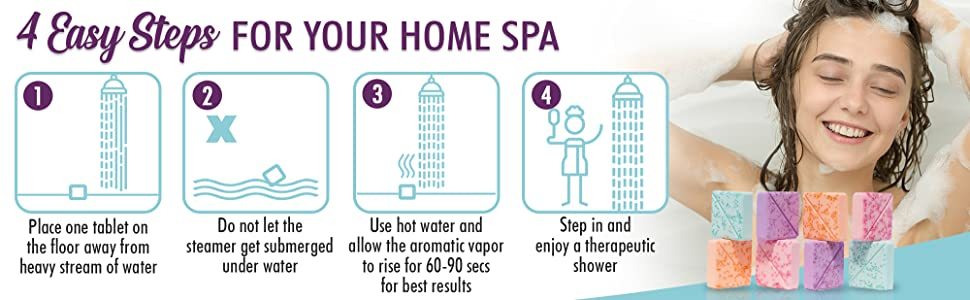 4 steps how to use shower steamers