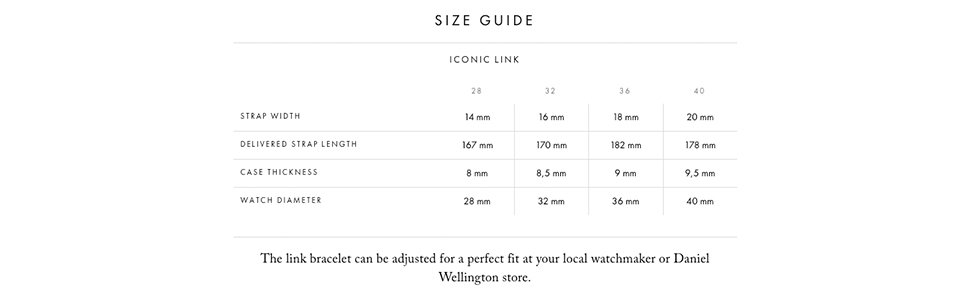 iconic link size, dw link, dw iconic size, dw iconic, sizing guide, watch size, size guide