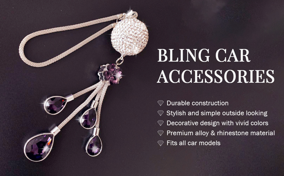 Blue Charm Pendant Cute Car Decor for Women 30mm Crystal Ball LOHO MAGICA Bling Car Accessories for Women and Man Elegant Car Mirror Hanging Accessories Fluffy Ball Lucky Sun Cather Ornament
