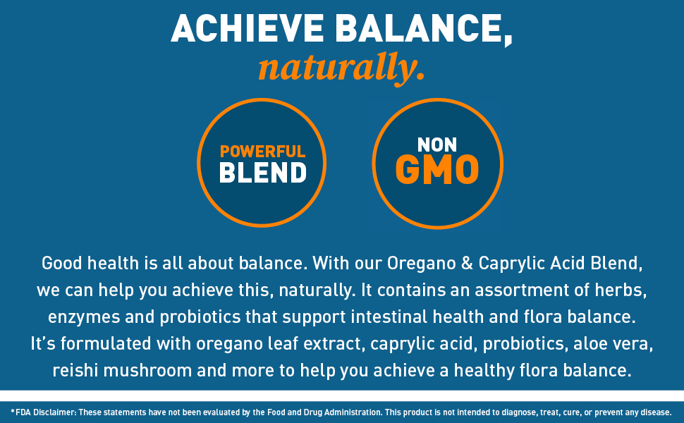 oregano, caprylic, acid, blend, herbs, enzymes, probiotics, flora, balance, reishi, mushroom