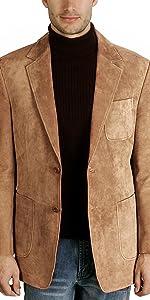 BGSD Men's Steve Classic 2-Button Suede Leather Blazer