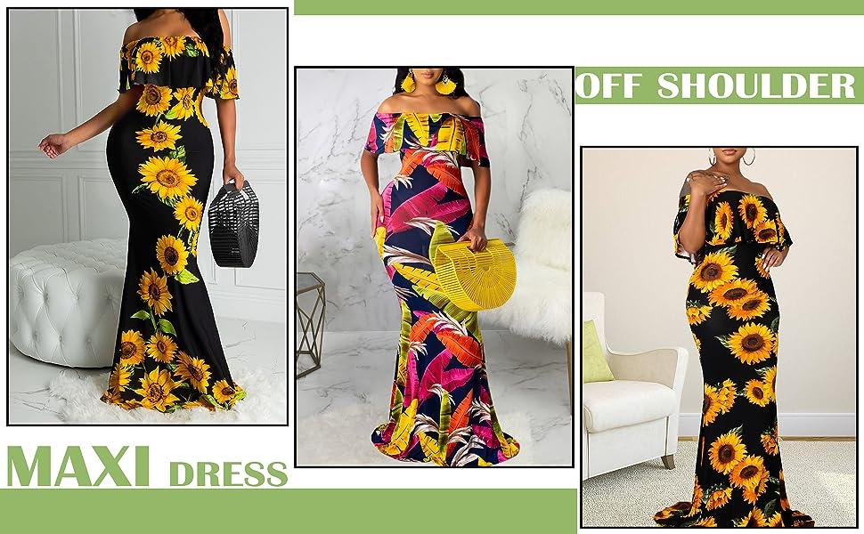 Women's Sexy Off Shoulder Maxi Dress Hawaiian Floral Evening Gown Long Dress