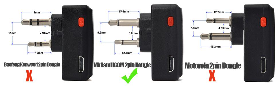 for Midland LXT80 LXT110 LXT112 LXT114 ICOM IC-F4 F20 F21 F22 F24 F25 F26 V8 V80 V80E V82 2pin