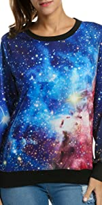 ACEVOG Women's Long Sleeve Pullover Hooded Cute 3D Galaxy Printing Sweatshirts Casual Tunic Top