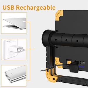 RUNACC LED Luz de trabajo Plegable USB recargable Portátil Luz de ...