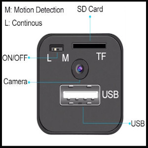 Hidden Undercover USB Charger Analysis Loop Motion Detection Recorders