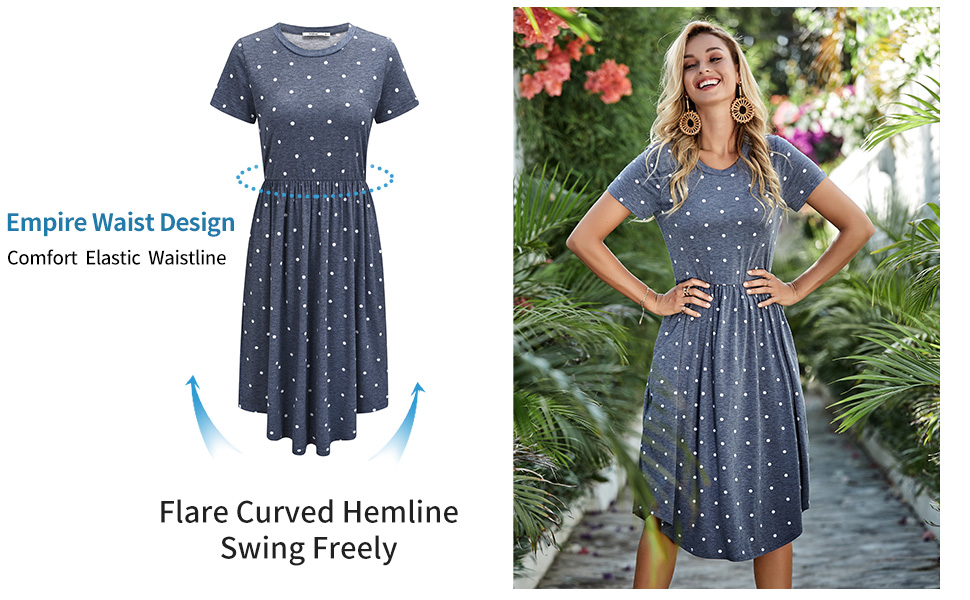Empire Waist Design - Flare Curved Hemline Swing Freely   Simier Fariry Dress