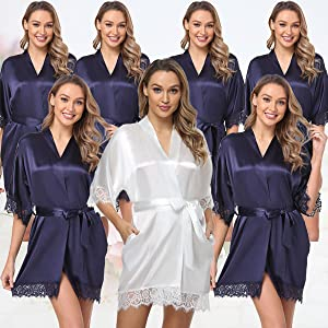 bridal robes for women dusty blue