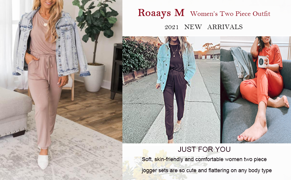 Women's Two Piece Outfit Short Sleeve Pullover Drawstring Pants Tracksuits Jogger Sets with Pockets