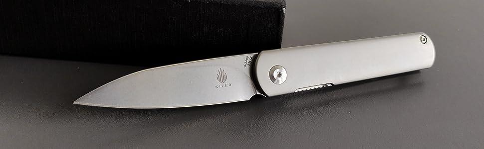 Kizer titanium handle knife with clip