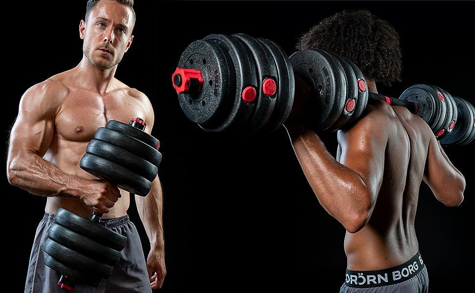 halters, gewichten, gewichtstraining, dumbbells, barbell, halterset, lange halters, korte halters