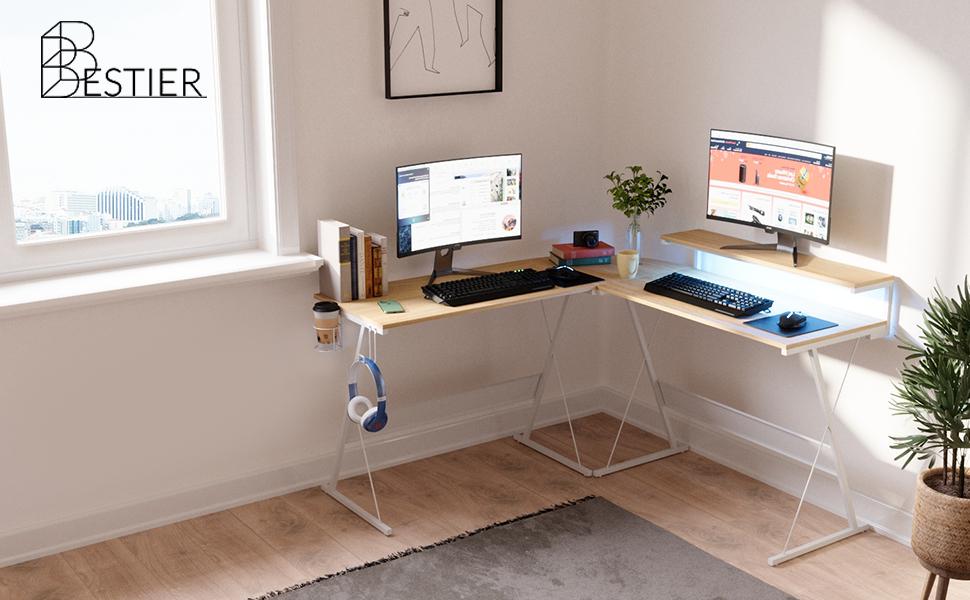 Bestier L-shaped home office computer desk