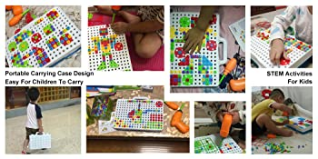 Mosaic design puzzle drill toy