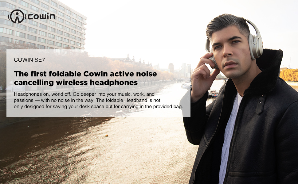 COWIN SE7 Active Noise Cancelling Wireless Headphones - Gold