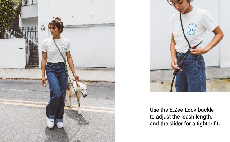 Adjustable leash length with the E-Zee Lock Buckle