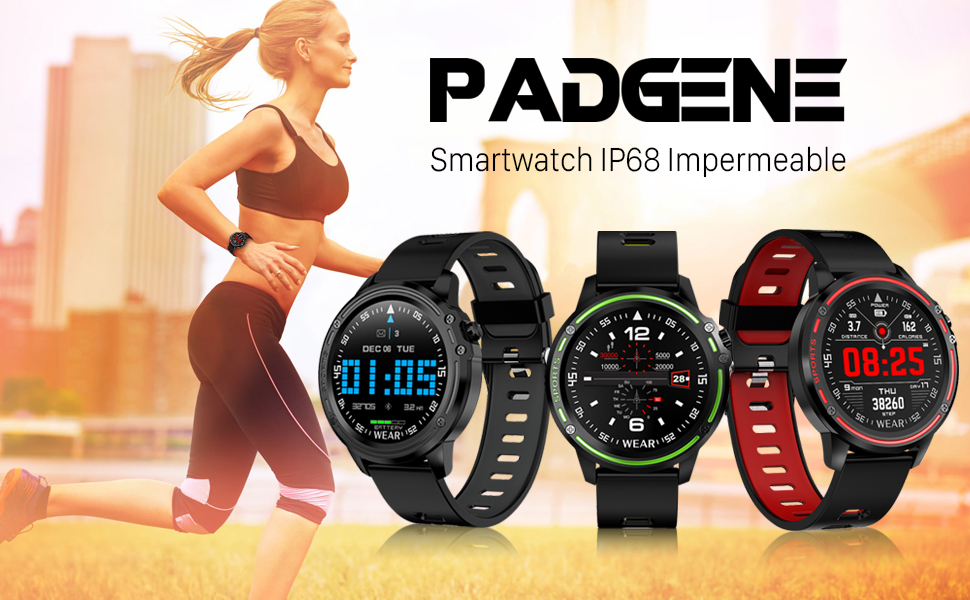 Smartwatch Padgene Reloj Inteligente IP68 Impermeable Bluetooth con Múltiples Deportes, Pulsómetro, Monitor de Sueño, Notificación de Llamada y ...