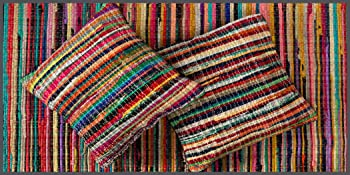 Chindi Rag Decorative Cushion Covers with chindi rag rug made from waste collected from factories